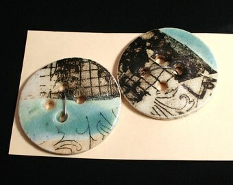 Handmade porcelain buttons, Black graphic, Sewing, Quilting, Weaving, Knitting, Craft, Ceramic, Unique, Turquoise glaze, Hand made  (eb285)