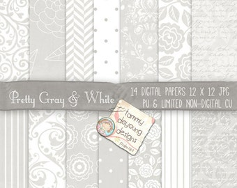 Wedding White & Gray Digital Papers, Damask and flowers Pattern backgrounds for invitations, announcments, baptism handmade cards