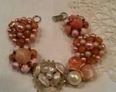 Pink peach beaded vintage cluster earring bracelet