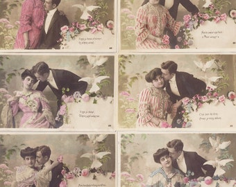 French Postcard Vintage Set of 6 Six Romantic Series Love Romance Hand Tinted Pink Aqua Flowers Doves 1900's