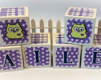 Owl Themed Custom Alphabet Baby Blocks, Letter Blocks for Baby, Personalized Wood Baby Blocks