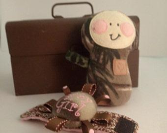 Camo Rattle Doll and camo BabyBoy or Baby Girl wrist rattle set
