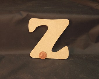 """Hand Cut Alphabets, Pack of 1 """"Z"""", 3.75"""" Tall, Blank, Ready for your art work"""