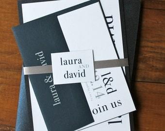 "Modern Wedding Invitations, Wedding Invitations, Navy and Silver Wedding Invitations - ""Urban Elegance Navy"" Deposit"