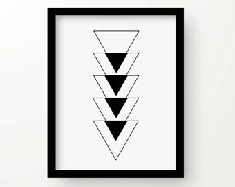 Abstract geometric print, instant download, graphic, black and white, home decor, wall decor, art print, triangles, modern, minimalist