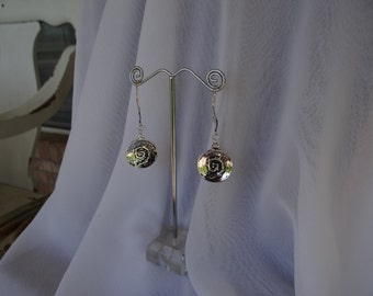 Antiqued Silver Earrings with Swirl Accents
