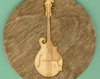 Wood Coasters Bluegrass Music - Laser Cut Inlaid Set of Four (CI-BG4)