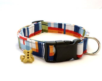 Preppy Plaid Dog Collar and Leash, Preppy Dog Collar, Boy Dog Collar, Patchwork Plaid Collar, Pet Collar, Large Dog Collar, Small Dog Collar