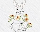 Rabbit Tea Towel Embroidery Kit, Grey Bunny, Beginner Embroidery Kit, DIY Sewing, Hand-Stitching, 'Bunny' Heidi Boyd