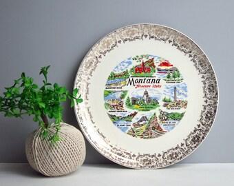 Vintage Montana souvenir plate - USA travel - decorative plate - western states - Montana landmarks - retro road trip collectible