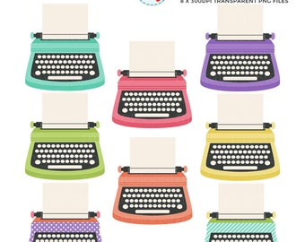 Typewriters Clipart Set - clip art set of typewriters, vintage, paper, typewriter - personal use, small commercial use, instant download