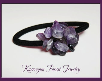 Hair Tie, Ponytail Holder, Amethyst, Gemstone, Feburary birthstone, decorated, hair band, decorated hair tie, hair band