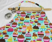 Plus Size Teal Sweet Cupcakes Apron