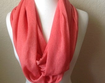 Women's Lightweight infinity Scarf Coral Pink Fine Knit Fabric