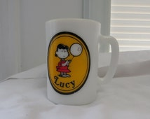 Vtg Avon 1969 Peanuts Gang Milk Glass Mugs Charlie Brown