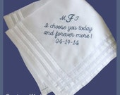 Embroidered Wedding Handkerchief Pocket Square Personalized For Groom, Father of the Bride, Father of the Groom, Wedding Gift