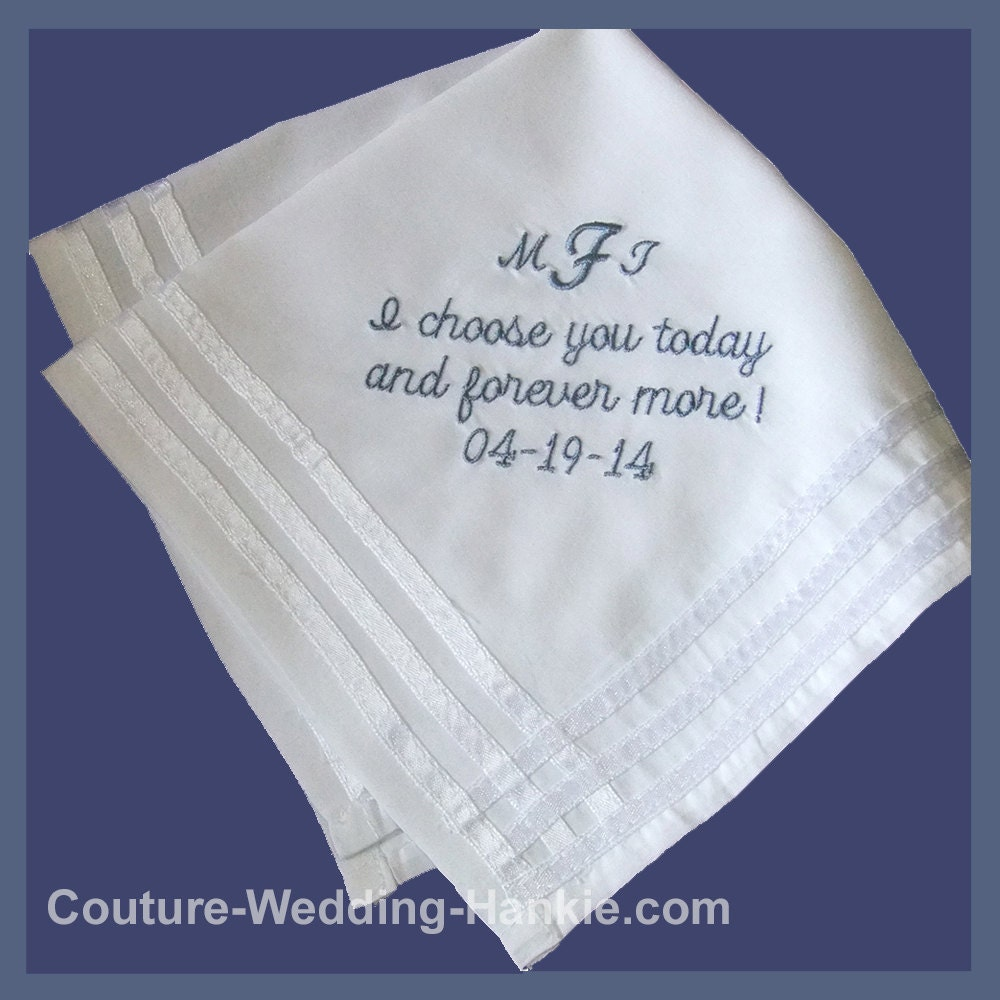 Embroidered wedding handkerchief pocket square personalized