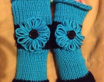 Black and Teal Fingerless Gloves