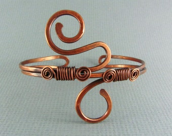 Copper Bracelet Wire Wrapped Jewelry Copper Bangle Wire Wrapped Bracelet