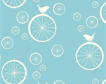 Birdie Spokes Pool, Birch Organic, Mod Basics, Light Blue Aqua Birds, Modern Fabrics, One Yard, More Available
