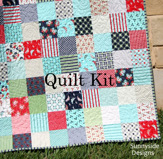 Sale daysail quilt kit bonnie and camille moda fabrics red blue sale daysail quilt kit bonnie and camille moda fabrics red blue aqua cream retro flowers throw size large blanket diy do it yourself from solutioingenieria Images