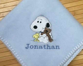 Personalized Snoopy Baby Blanket By Erikasembroidery On Etsy