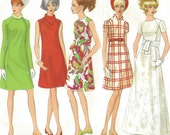 1960s Womens Mod A-Line Dress in 2 Lengths Vogue Basic Design Sewing Pattern 1962 Size 10 Bust 32 1/2 A Line Mod Dress