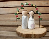 F L O W E R  A R C H & L O G  B A S E for your Custom Wooden Bride and Groom Wedding Couple Cake Topper