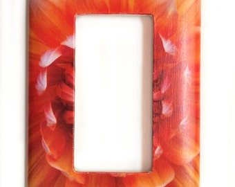 Light Switch Plates, Single Rocker, GFI cover,  Red, Yellow, Orange Dahlia