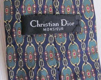Christian Dior - Mens Dark Blue Green Vintage Silk Neck Tie Designer