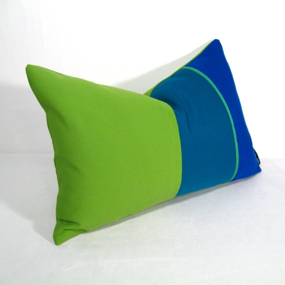 SALE Green Blue Pillow Cover Modern Outdoor by SewSampleShop