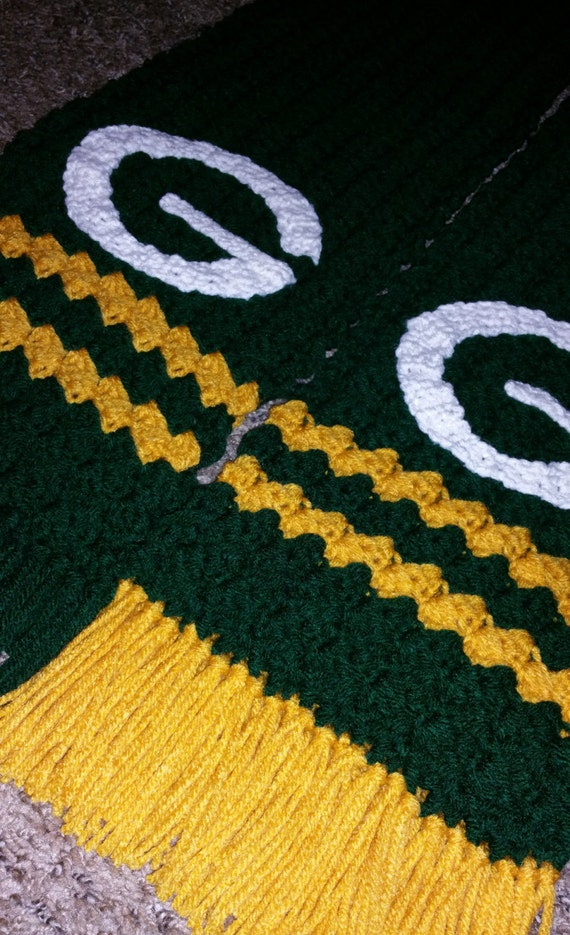 Crochet Pattern Green Bay Packer Afghan : Crocheted Green Bay Packers Scarf
