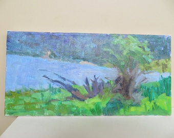 Painting Impressionism / original 8 X 16 inches / signed on back Gottlieb