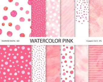 Watercolor digital paper, pink watercolor scrapbook paper, pink dots, confetti,, stripes - Pack 660