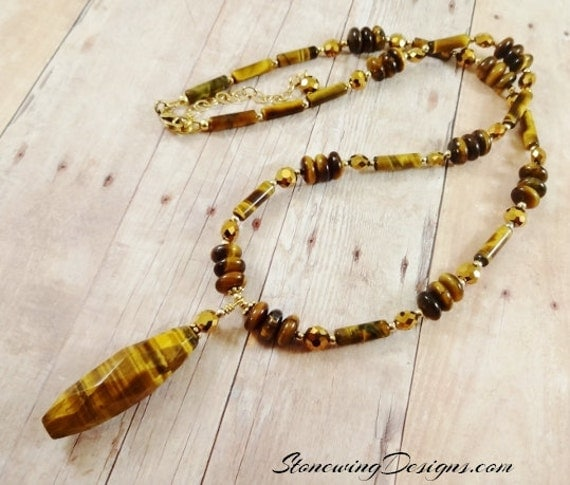 Tiger's Eye and Swarovski Crystal Necklace