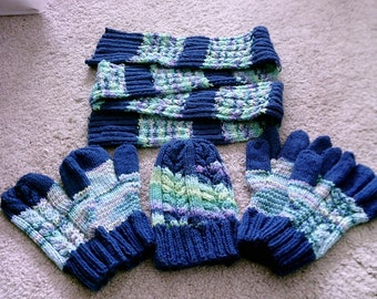 Hat Glove Mittens and Scarf Set in Royal Blue and Wildflower