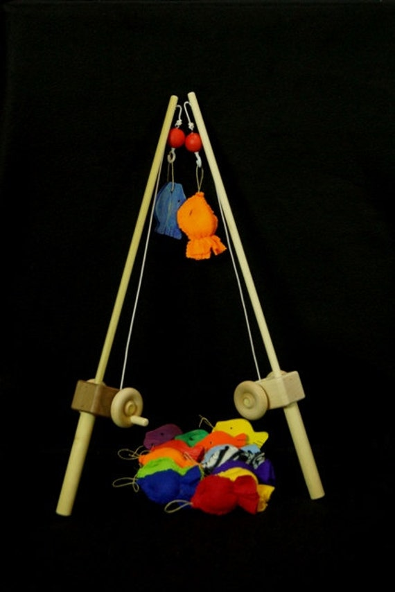 Wooden toy fishing pole combo with hook for Wooden fishing pole