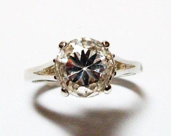 "White quartz, white quartz ring, quartz ring, solitaire ring, white, s 6 3/4  "" Snow Ball"""