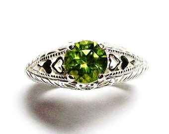 "Peridot, peridot ring, sweetheart ring, birthstone ring, solitaire ring, green, s 6 3/4  ""Opposite's Attract"""