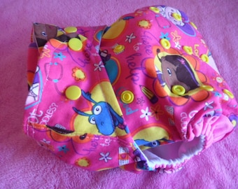 SassyCloth one size pocket diaper with Doc McStuffins print. Made to order.