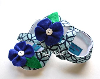 Blue Aqua Maryjane Baby Shoes with Blue Flower