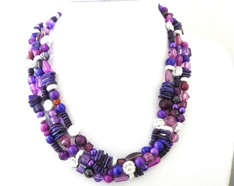 Purple Silver Necklace 3 Tiered