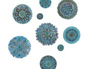 Suzani wall art made from ceramic - Set of 8 different size turquoise carved circles - ceramic tile - turquoise wall art