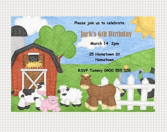 Farm Birthday Invitation Printable Personalized