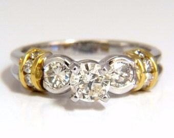 0.75CT Classic Traditional Diamond Ring 14KT Golden Shoulders