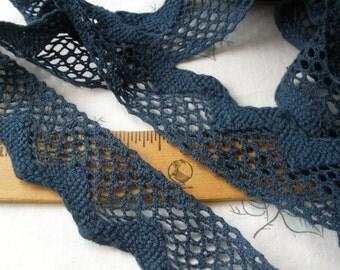 "Blue Chevron Cotton Cluny Lace Trim 1 5/8"" wide Crochet or bobbin look scalloped edge retro choose yardage mid blue"