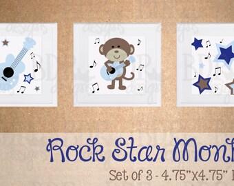Rockstar Monkey Nursery Art - Set of 3 Prints