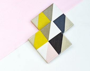 Colorful Geometry Tile Coasters Triangles Pastel Handmade Ceramic Coasters set of 4