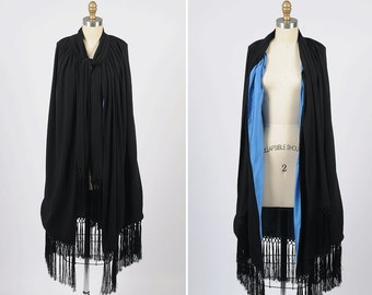 1930s cape/ 30s rayon crepe cape with fringe hem/ silk lining