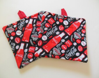 Potholders, Set Of Two Quilted Potholders, Pair of Coca Cola Potholders